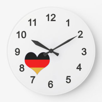 Heart - Germany colors Large Clock