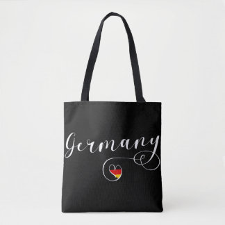 Heart Germany Grocery Bag, German Flag Tote Bag