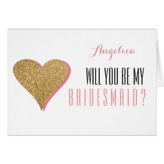 Heart Glitter Will You Be My Bridesmaid Invite Card