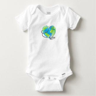 Heart Globe Stethoscope Earth World Health Concept Baby Onesie