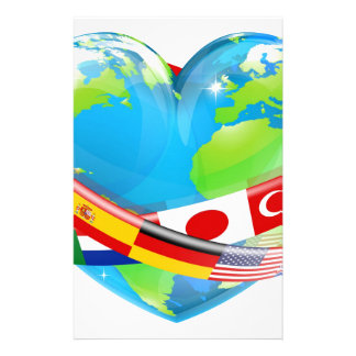 Heart globe with flags stationery