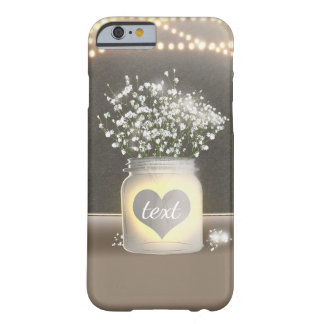 Heart Glowing Mason Jar & Baby's Breath Rustic Barely There iPhone 6 Case