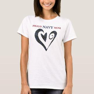 Heart Gold Star Navy Mom T-Shirt