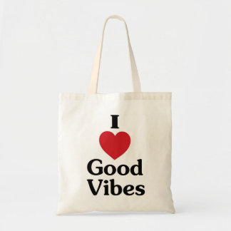 Heart good vibes simple love reusable bag