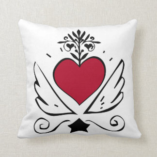 Heart Growing Wings Throw Pillow