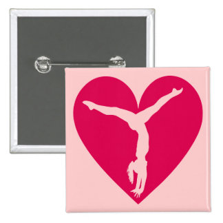 Heart Gymnast 2 Inch Square Button