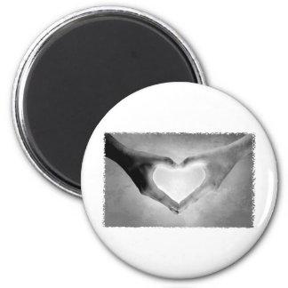 Heart Hands B&W Photo Magnet