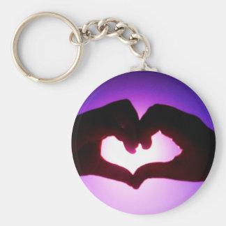 heart hands purple basic round button keychain