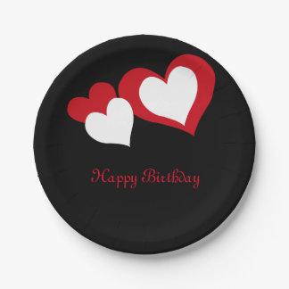 Heart- Happy Birthday Paper Plate