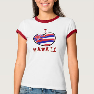 Heart Hawaii state flag red ladies tee