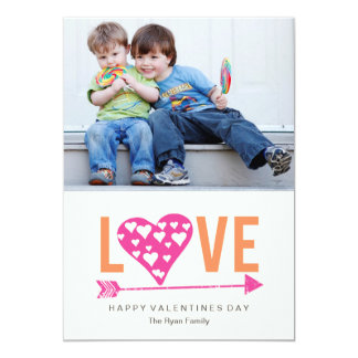 "Heart Heart A7 Valentines Day Photo Card - PINK 5"" X 7"" Invitation Card"