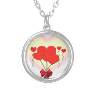 heart hearts love romantic custom personalize silver plated necklace