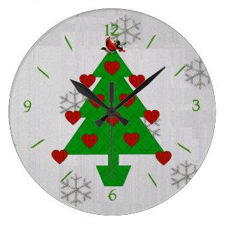 Heart Holiday Tree Large Clock