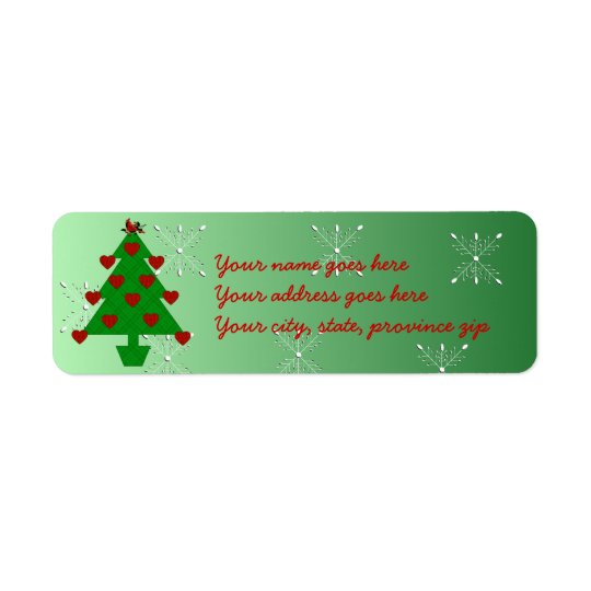 Heart Holiday Tree Return Address Label