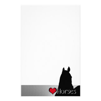 Heart Horses I Red Heart (silver metallic) Custom Stationery