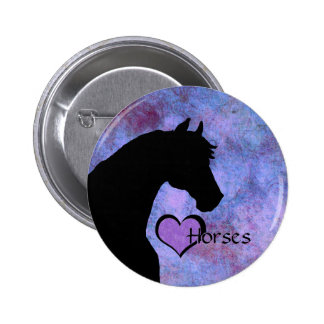 Heart Horses II (purple/blue) 2 Inch Round Button
