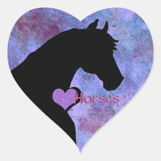 Heart Horses II (purple/blue) Heart Sticker