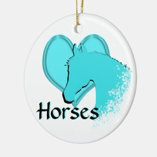Heart Horses III (aqua) Round Ceramic Ornament
