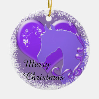 Heart Horses III Holiday (Purple Horse/Heart) Round Ceramic Ornament