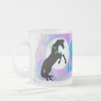 Heart Horses V Holiday (Colorful Haze) Frosted Glass Mug