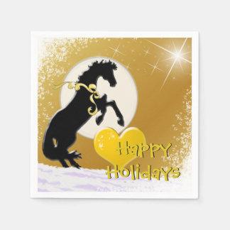 Heart Horses V Holiday (Golden Stars) Disposable Napkin