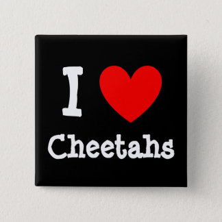 Heart, I , Cheetahs 2 Inch Square Button