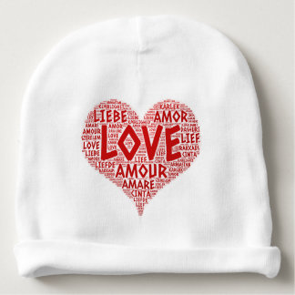 Heart illustrated with Love Word Baby Beanie
