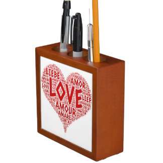 Heart illustrated with Love Word Desk Organizer