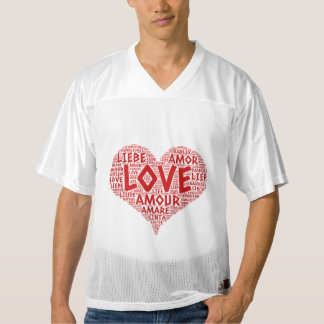 Heart illustrated with Love Word Men's Football Jersey