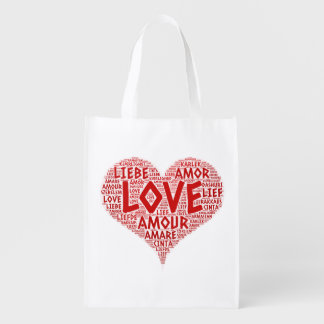 Heart illustrated with Love Word Reusable Grocery Bag