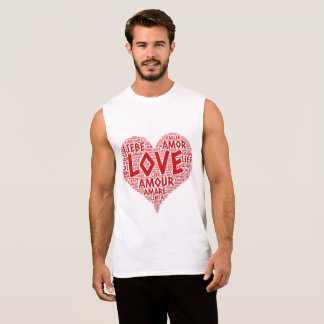 Heart illustrated with Love Word Sleeveless Shirt