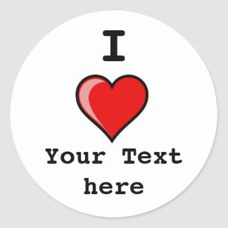 heart Image 2, I, Your Text here Round Sticker