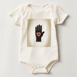 Heart in a hand baby bodysuit