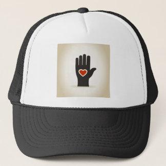 Heart in a hand trucker hat