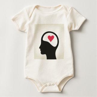 Heart in a head baby bodysuit