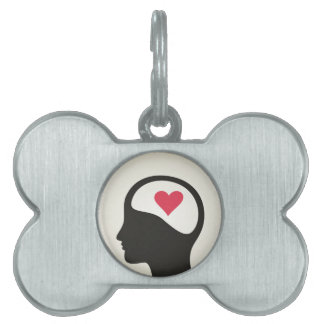Heart in a head pet ID tag
