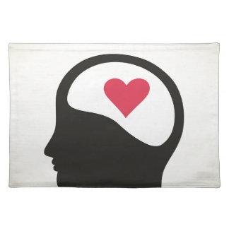 Heart in a head place mats