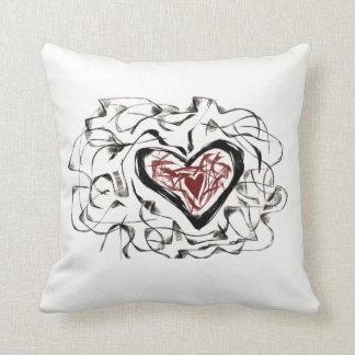 Heart in a Heart Scribble Pattern Pillow