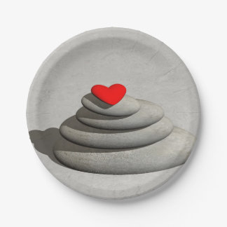 Heart in balance - 3D render Paper Plate