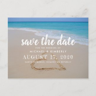 Heart in Beach Sand Wedding Save the Date Announcement Postcard