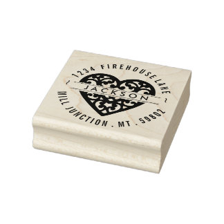 Heart In Circle Return Address Stamp