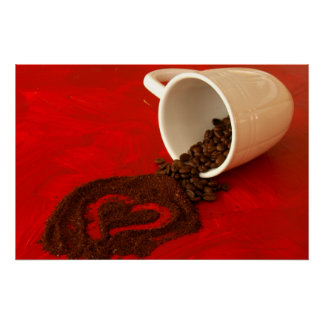 heart in coffee grounds poster