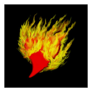 Heart in flaming poster
