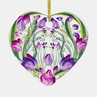 Heart in flowers ceramic ornament