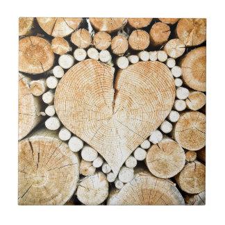 Heart in logs ceramic tile