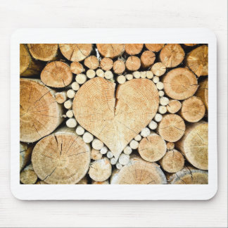 Heart in logs mouse pad