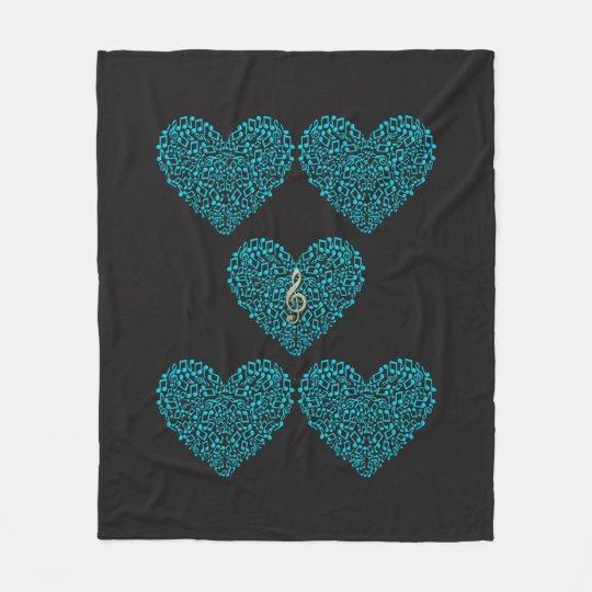 Heart in notes of music fleece blanket