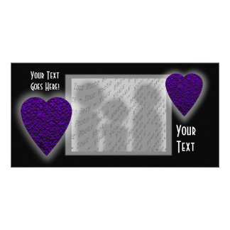 Heart in Purple Colors. Patterned Heart Design. Photo Card
