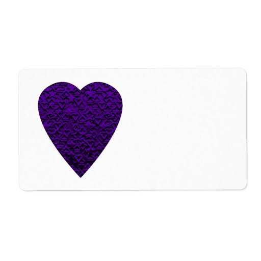 Heart in Purple Colours. Patterned Heart Design. Shipping Label