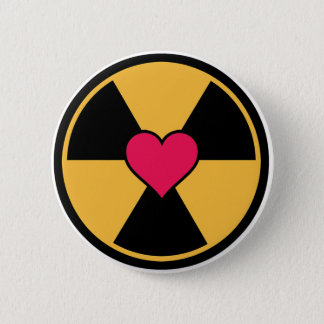 Heart in radiation symbol button
